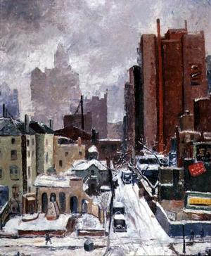 Untitled Winter Scene - oil painting by Ceil Rosenberg, Public Works of Art Project
